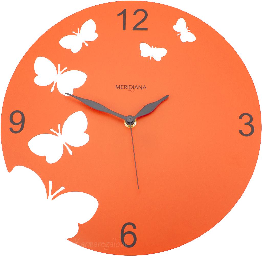 Diamantini orologio da parete butterfly arancio complementi for Orologio da muro farfalle