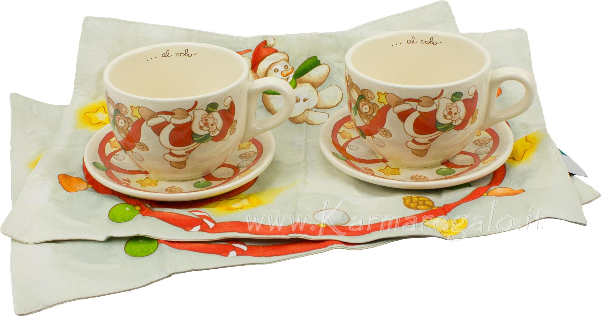 Set 2 tazze colazione con 2 tovagliette natale al volo thun for Tazze da regalare a natale