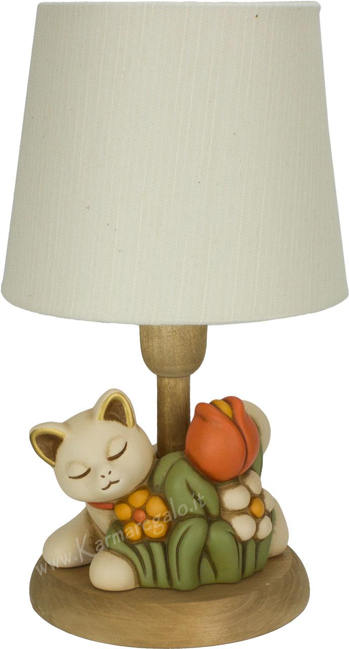 Lampada gatto con fiori for Gatto thun