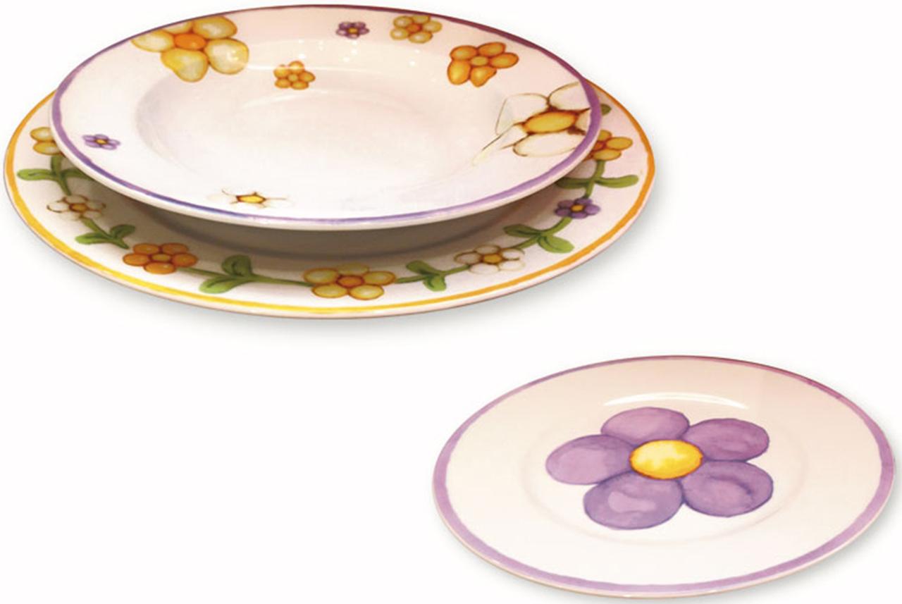 Servizio 12 pezzi piatti dolcefiore thun for Ceramica thun saldi