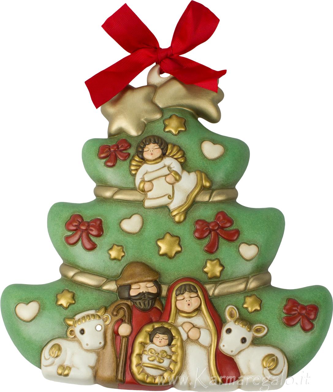 Immagini Di Natale Con Sacra Famiglia.Formella Albero Con Sacra Famiglia