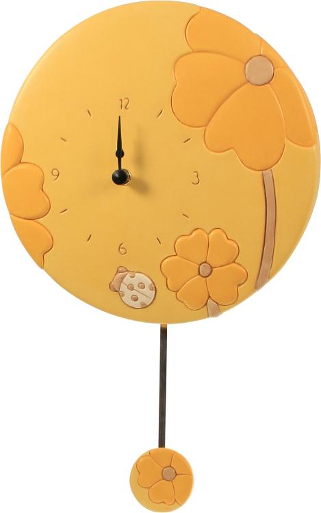 Orologio da parete con pendolo primula giallo thun for Orologio pendolo thun