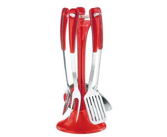 Set mestoli con supporto rosso guzzini for Set mestoli cucina