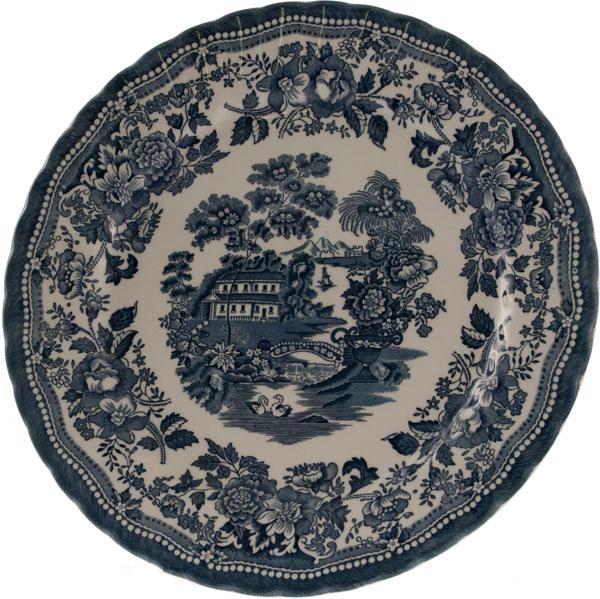 piatto rotondo in ceramica blu churchill