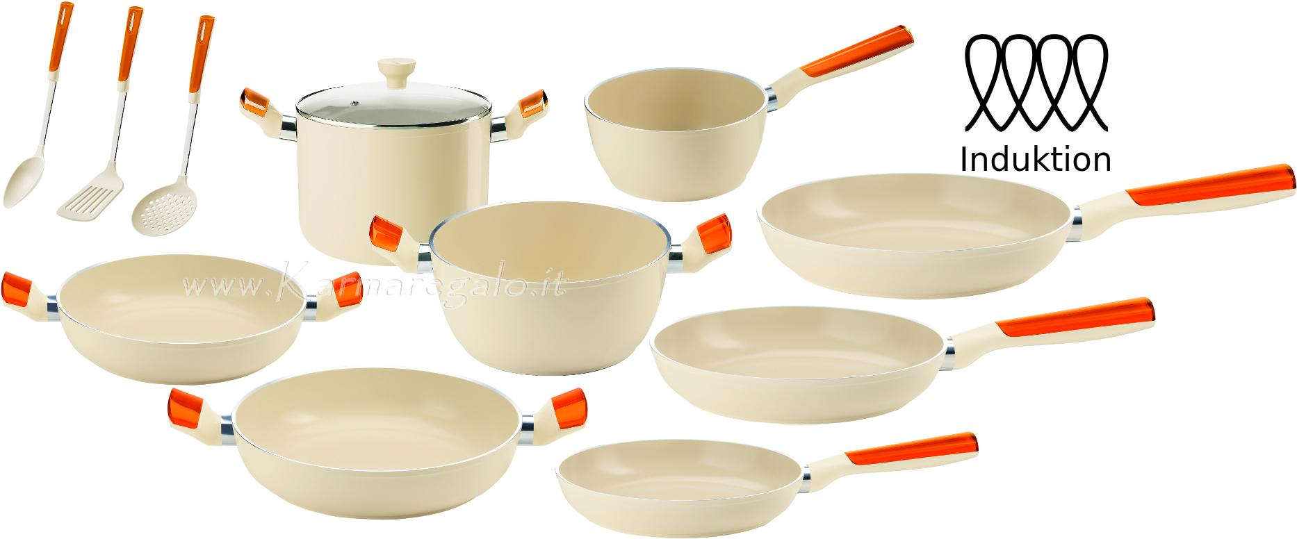 Batteria in ceramica per induzione 8 pezzi guzzini - Pentole per cucine a induzione ...