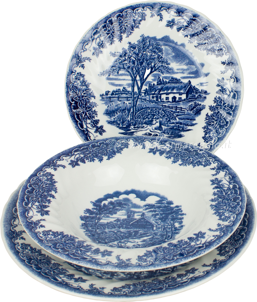 Servizio 18 pezzi blu originale in ceramica churchill for Ceramica thun saldi