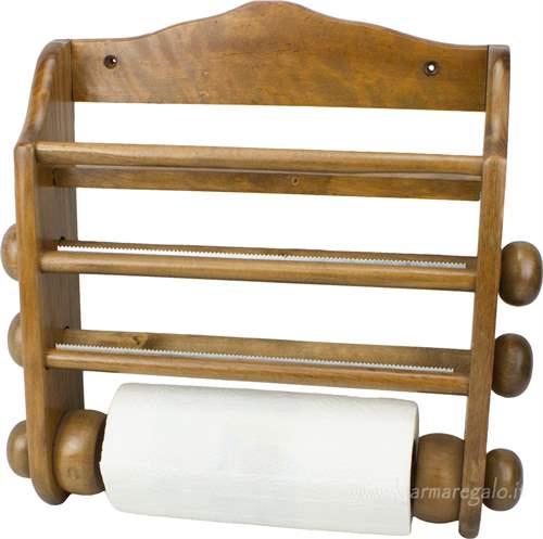 Portarotolo da cucina in legno scuro - Porta scottex thun ...
