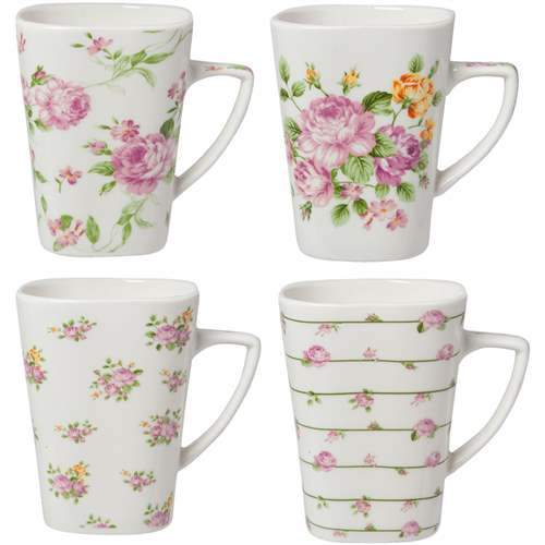 Clayre & Eef Set 4 Mug In Porcellana