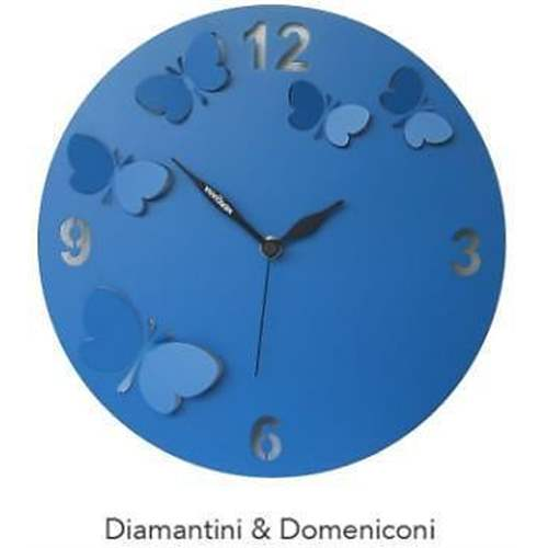 orologio da parete butterfly in rilievo blu diamantini e domeniconi. Black Bedroom Furniture Sets. Home Design Ideas